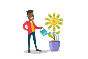 African-american businessman watering money flower