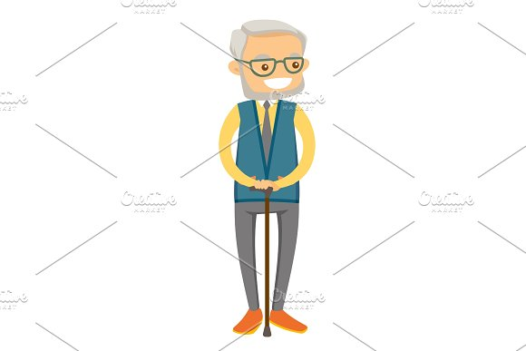 Old caucasian white man in eyeglasses with a cane.