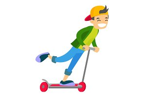 Young caucasian white boy riding a kick scooter.