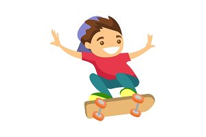 Happy caucasian white boy riding a skateboard.