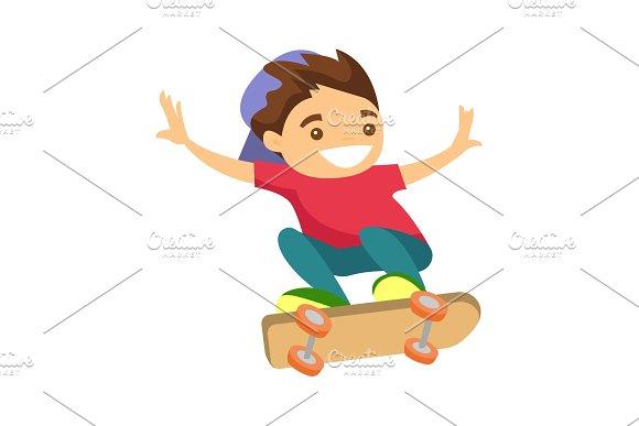 Happy Caucasian White Boy Riding A Skateboard