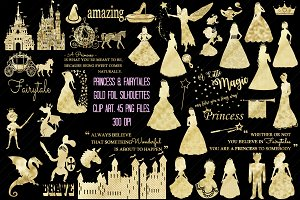 Princess Gold Foil Clip Art