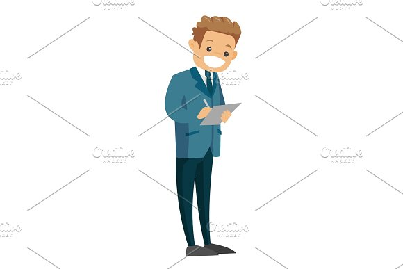 Businessman holding clipboard with documents.