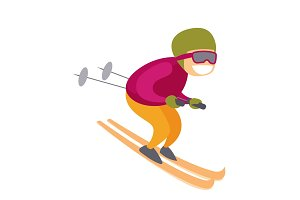 Caucasian white skier skiing downhill in mountains