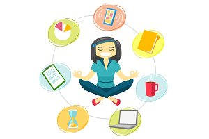Business woman meditating in yoga lotus position.