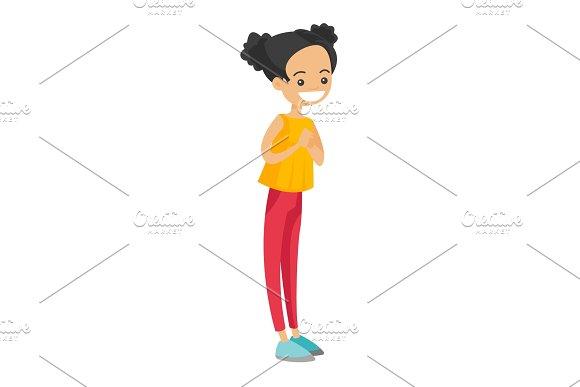 Full Length Of Little Caucasian Girl Standing