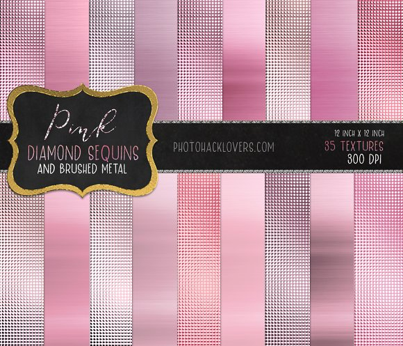 Pink Diamond Sequin & Brushed Metal