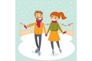 Caucasian white couple skating on ice rink outdoor