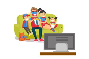 Caucasian family watching football match on TV