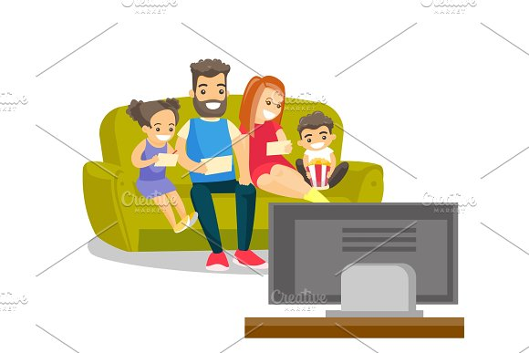 Caucasian White Family Watching Television At Home