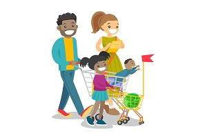 Young multicultural family with kids shopping.