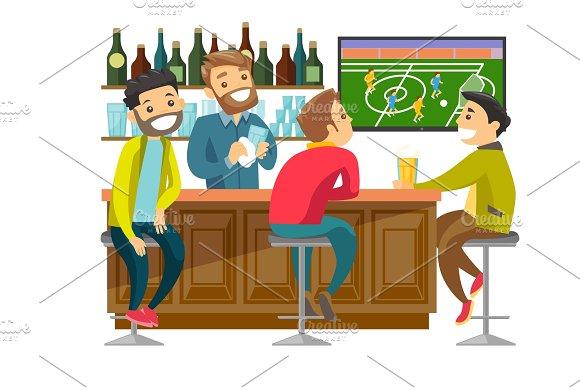 Caucasian People Watching Football At Sport Bar