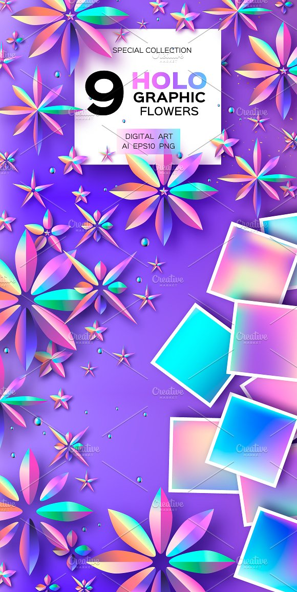 9 HOLOGRAPHIC FLOWERS. VIOLET