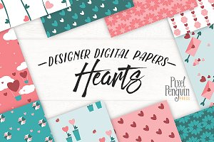 Valentine Hearts Digital Paper Pack