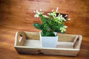 small pot with artificial flower