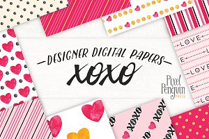 XOXO Love Theme Digital Paper Pack