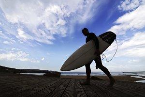 surfer silhouette  blue sky