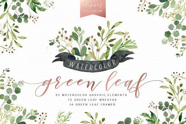 Watercolor Green Leaf Clip Art