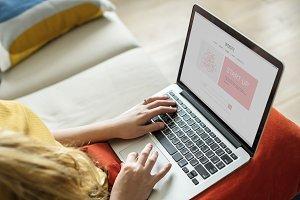 Caucasian woman using laptop