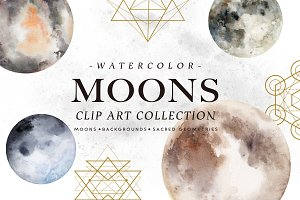 Watercolor Moons