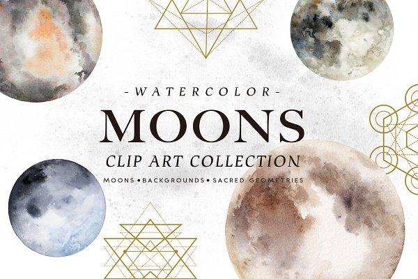 Watercolor Moons
