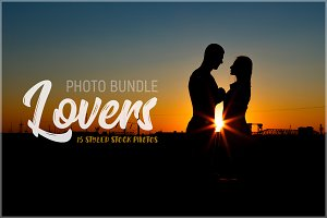 Couple in love on sunset background