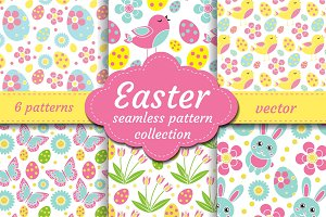 Cute easter seamless pattern set with nestling, rabbit, eggs, flowers. Spring collection repeating textures. Children, kids, baby endless background kit. Vector illustration