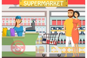 Young couple shopping at supermarket banner