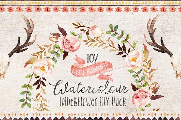 Watercolour Tribe&Flower DIY+Bonus