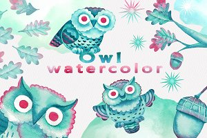 Watercolor Cartoon Owls