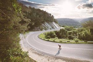 Downhill on a longboard