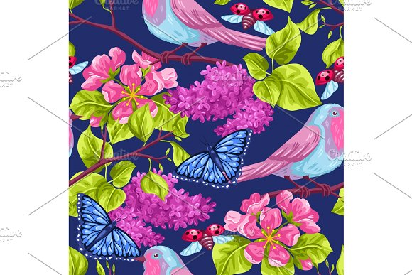 Spring Garden Seamless Pattern Natural Illustration With Blossom Flower Robin Birdie And Butterfly