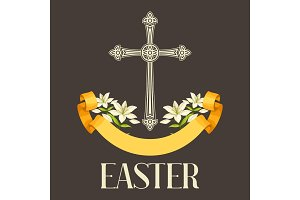Silhouette of ornate cross with lilies. Happy Easter concept illustration or greeting card. Religious symbols of faith