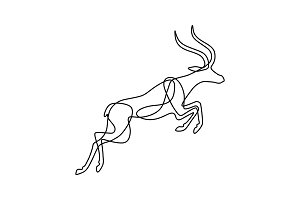 Endless line art illustration of antelope. Continuous black outline drawing on white background
