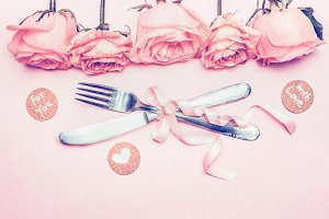 Pastel pink table setting