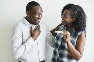 Black couple positive pregnancy test