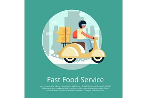 Fast food delivery service poster with courier