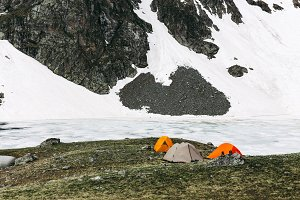 Camping tents in high mountains.