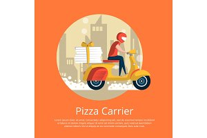 Pizza carrier service poster with courier