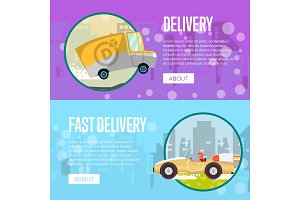 Food and furniture store delivery posters