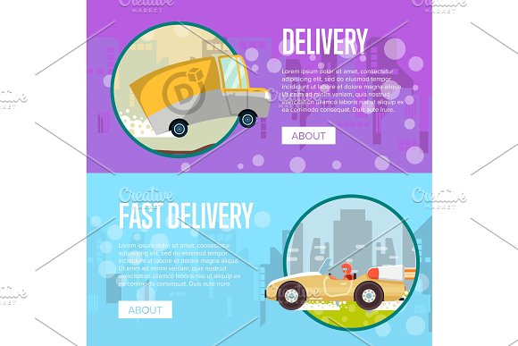 Food And Furniture Delivery Posters Ilrations