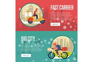 Food carrier service posters with couriers