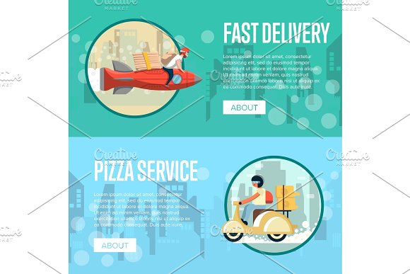 Pizza Carrier Service Posters With Couriers