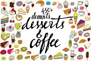 450+ hand drawn desserts and coffee