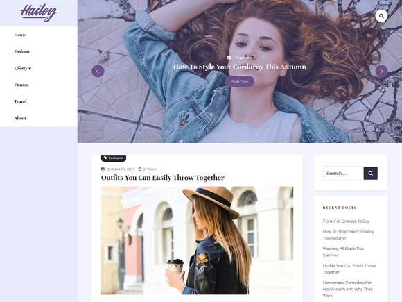 Hailey Lite WordPress Blog Theme