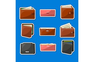 Various leather purses and wallets labels set