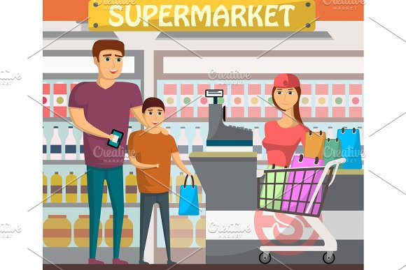 Father with son shopping at supermarket banner