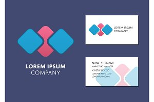 Business card template with abstract logo