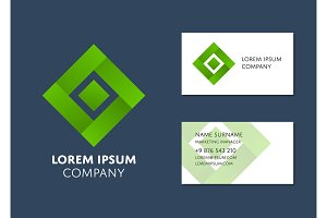 Business card template with green square logo