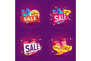 Holiday sale stickers in trendy style